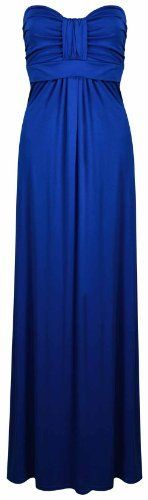 New Womens Strapless Ruched Pleated Boob Tube Ladies Sweetheart Bandeau Long Maxi Summer Dress Royal Blue Size 12 14 Purple Hanger, www.amazon.co.uk/...