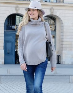 Almond Cable Knit Cape Maternity Sweater | Seraphine
