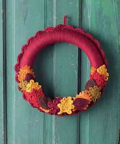 Welcome the seasons in cozy style with these colorful crocheted wreaths, and change them up when the weather shifts. Simply crochet around wreath forms with bulky yarn, then pin the motifs in place,
