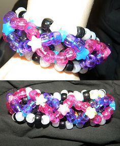 Kandi Cuff 1 by HannahBreathesFire - kandi bracelets Pony Bead Patterns, Kandi Patterns, Beading Patterns, Stitch Patterns, Raves, Edm Festival, Festivals, Rave Bracelets, Rainbow Choker