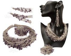 Linen necklace, bracelet and earrings