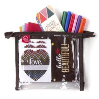 Valentine Gift Guide 2015: Erin Condren Loves Notes Clutch: Comes With: 6 folded quote notes with coordinating envelopes (one of each: red, peony, orange, turquoise, metallic gold & silver), 3 'quick-ship' heart labels, 3 'quick-ship' circle labels, 10 compliment cards and 1 pack of colorful markers all packaged in a clear zipper clutch! #paperjunkie