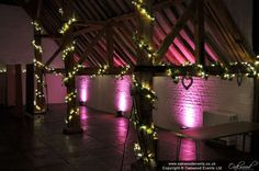 Pink uplighting in the Ufton Court barn Mood Light, Amy, Neon Signs, Lights, Pink, Wedding, Casamento, Rose, Hot Pink