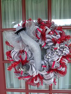 Alabama Roll Tide Elephant Deco Mesh Door Wreath by CrazyboutDeco, $89.00