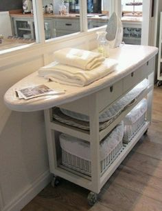 Who knew a diaper changing table would make the best ironing station. Customize … Who knew a diaper changing table would make the best ironing station. Sewing Room Storage, Sewing Room Organization, Ikea Storage, Sewing Rooms, Storage Ideas, Organization Ideas, Fabric Storage, Storage Shelves, Kitchen Organization