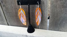 This item is unavailable Feather Earrings, Unique Earrings, Drop Earrings, Gifts For Her, My Etsy Shop, Blue And White, Bohemian, Pendant, Purple