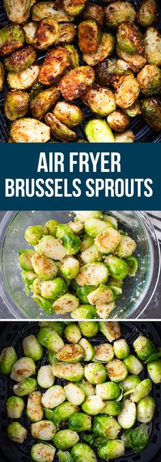 Air Fryer Brussels Sprouts | Gimme Delicious Low Carb Side Dishes, Healthy Side Dishes, Side Dishes Easy, Side Dish Recipes, Dinner Recipes, Air Fried Vegetable Recipes, Vegetable Side Dishes, Crispy Brussel Sprouts, Brussels Sprouts
