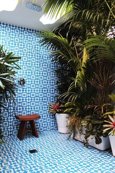 Eclectic Bathroom Design Ideas, Pictures, Remodel and Decor//Plants :) Bohemian Bathroom, Eclectic Bathroom, Tropical Bathroom, Bathroom Plants, Bathroom Interior, Cement Bathroom, Tile Bathrooms, Garden Bathroom, Open Bathroom