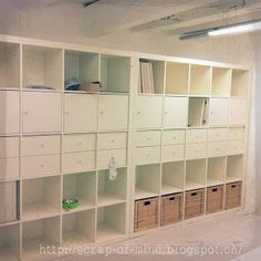 expedit brings light and storage basement idea all along one wall? Basement Plans, Basement Storage, Basement Remodeling, Organized Basement, Basement Laundry, Basement Ideas, Scrapbook Storage, Scrapbook Rooms, Basement Studio