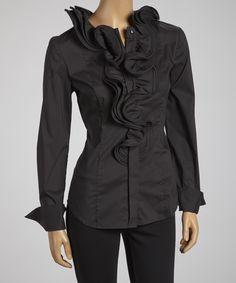 Black Ruffle Swirl Collar Button-Up