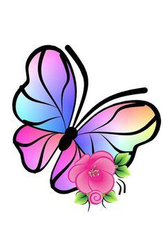 Mariposas Butterfly Clip Art, Butterfly Fairy, Butterfly Wallpaper, Butterfly Cards, Flower Tattoo Designs, Flower Designs, Bordado Popular, Foto Transfer, Bird Houses Painted
