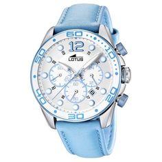 Lotus 15782/4 - Reloj analógico de cuarzo para mujer con correa de piel celeste