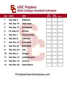 USC Trojans Football Schedule 2016. Print Schedule Here - http://printableteamschedules.com/collegefootball/usctrojans.php