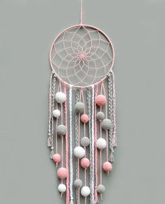 Pink nursery dream catcher Kids room decor wall hanging Christmas gift for baby girl Dreamcatcher with pompoms Baby shower gift - This pink, gray and white dream catcher is a beautiful room for baby girl room. Dream Catcher Pink, Dream Catcher Nursery, Dream Catcher Craft, Diy Dream Catcher For Kids, Making Dream Catchers, Doily Dream Catchers, Dream Catcher Mobile, Baby Room Decor, Nursery Decor