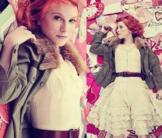 Hayley Williams in The Only Exception: ruffles, fur, curls, barrettes, blush.