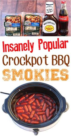 Crockpot BBQ Coke Little Smokies Recipe (Posts by DIY Thrill) Game Day Recipes Appetizers! Easy crockpot BBQ smokies are the ultimate party food for a crowd pleasers! Game Day Appetizers, Yummy Appetizers, Appetizer Recipes, Simple Appetizers, Seafood Appetizers, Cheese Appetizers, Christmas Appetizers, Christmas Recipes, Thanksgiving Recipes