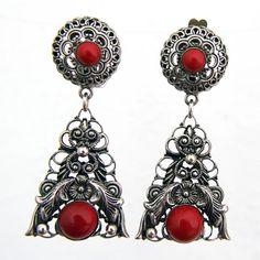 Art Deco Czech Glass Dangle Clip Earrings. Gablonz от HouseOf3Cats