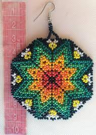 Mexican Huichol Beaded Star earrings by Aramara on Etsy Beaded Earrings Patterns, Bead Loom Patterns, Jewelry Patterns, Beading Patterns, Fabric Origami, Fabric Jewelry, Star Earrings, Beading Tutorials, Loom Beading