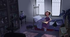 A young witch's bedroom set. She's studying for classes.Illustration by Mike Yamada.