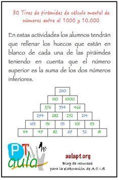 Cuaderno con 30 tiras de pirámides de cálculo mental para trabajar en el aula como tarea de ampliación. Como ya he explicado en post anteriores, la actividad consiste enrellenar los huecos que están en blanco de cada una de las piráimdes teniendo en cuenta que el número superior es la