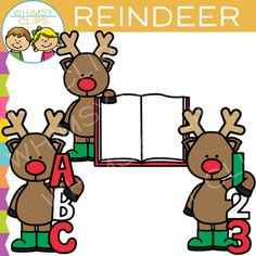 A free reindeer clip art set that includes a reindeer with letters, numbers and an open book. All images are png. You will color png black & white png images Free Clipart For Teachers, Christmas Clipart Free, Christmas Worksheets, Christmas Activities, Diy Projects That Sell Well, Digital Paper Freebie, Vip Kid, Art Worksheets, Open Book