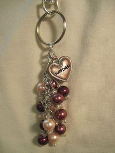Burgundy Bronze and Pink Pearl Glass Bead Purse Charm / Key Chain by FoxyFundanglesByCori, $10.00