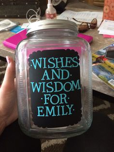 Wishes and wisdom Jar for graduation parties