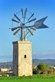 Typical windmill in the island of Majorca (Spain) stock photography