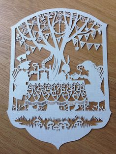 Mad hatters tea party, unframed paper cut, designed by Bramble Crafts, handcut…
