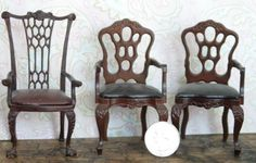 vintage dollhouse furniture: set lot of three dining chairs