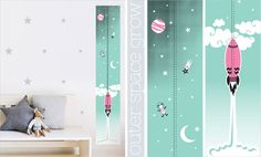 Outer Space Growth Chart Pink 5, 4, 3, 2 ,1, LIFT-OFF! You grow up too fast. https://www.facebook.com/MoomaDecor