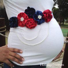 FREE SHIPPING! Maternity Sash. Cinta de maternidad Corazón. Faja de maternidad. Cinturón de maternidad.Embarazo.Maternity sash red and navi. de Handiprincesas en Etsy