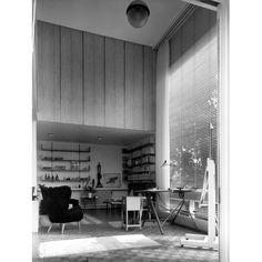 Studio at Hertingfordbury, Hertfordshire: the ground floor studio illuminated by large plate-glass windows with full-length Venetian blinds and curtains | RIBA