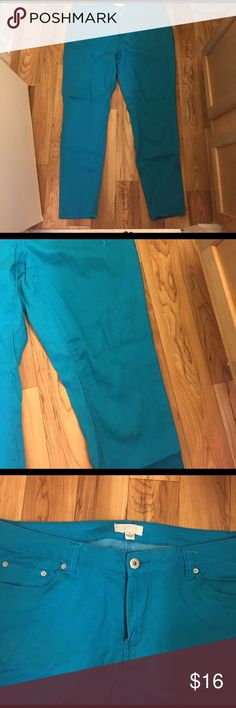 Skinny Jeans Bluish/Green skinny leg pants. In good condition! Forever 21 Pants Skinny