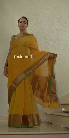 Yellow Handwoven Cotton Saree