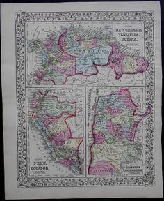 1883 Mitchell Map: Columbia Venzuela Guiana Peru Ecuador, Argentine Confederation. Original Augustus Mitchell Antique Engraved, Handcolored.