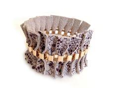 Seashell print bracelet Genuine Italian leather cuff by Shulili4U