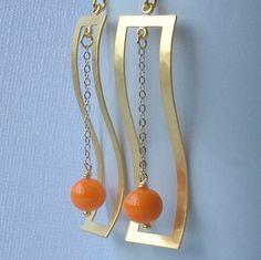 Tango Tangerine orange and Gold Dangle Earrings by PeriniDesigns, $29.00