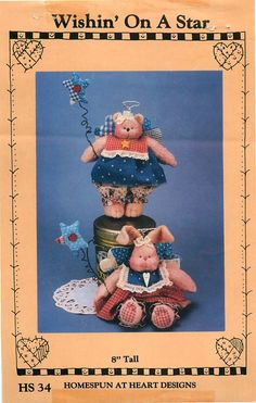 """Homespun at Heart Designs Sewing Pattern """"Wishin' On a Star"""" for 8"""" Bunny and Rabbit by CarlasHope on Etsy"""