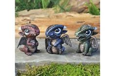 Miniature-Dollhouse-FAIRY-GARDEN-Baby-Dragons-Set-of-3-NEW