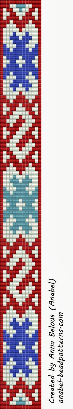 Схема браслета со славянским орнаментом - ткачество / гобеленовое плетение   - Схемы для бисероплетения / Free bead patterns -