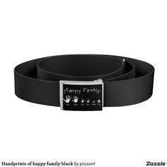 Handprints of happy family black belt