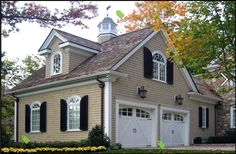 B.E. Interiors: Updating a Garage houses, window, garages, garag door, garage doors, house colors, shutters, design, carriage house