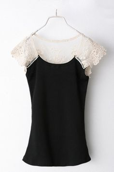 Sweet Round Neck Cap Sleeve T-Shirt by Oasap