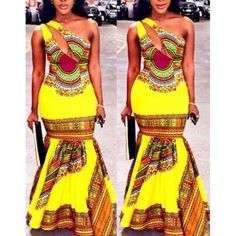 Wholesale Ethnic Style One-Shoulder Sleeveless Hollow Out Printed Maxi Fishtail Dress For Women Only $8.59 Drop Shipping | TrendsGal.com