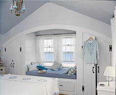 Coastal beach house bedroom with an ocean view