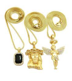 Iced Out Diamond Cz Halo Angel Jesus Black Onyx Pendant w/ Chain - Bling Jewelz