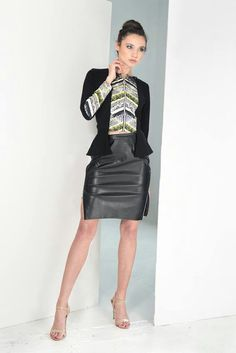 Sexy jacket and leather skirt