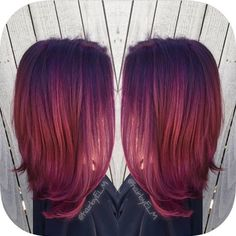 Inspiration discovered by efoxx HAIR. Deep violet to magenta color melt. Goldwell color with elumen overlay. #purplehair #colormelt #hair @bloomdotcom