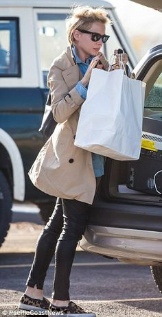 Love her hair and that burberry? coat! Leopard shoes too cool..